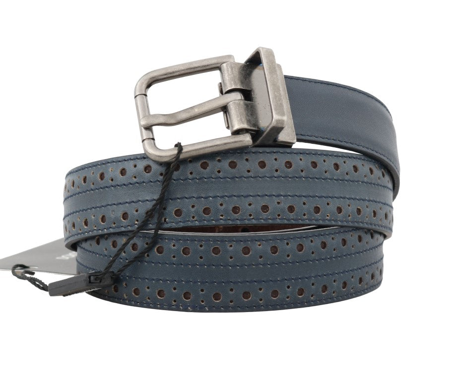 Blue Perforated Leather Belt