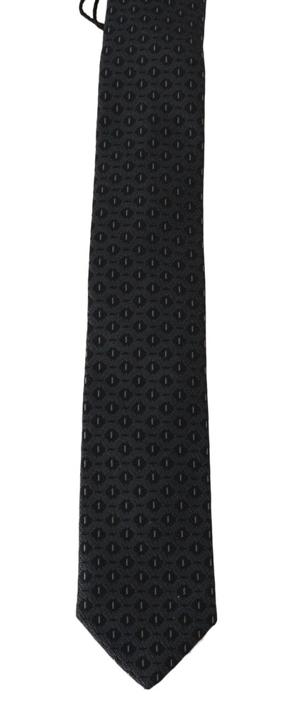Black Silk Blue Pattern Slim Tie