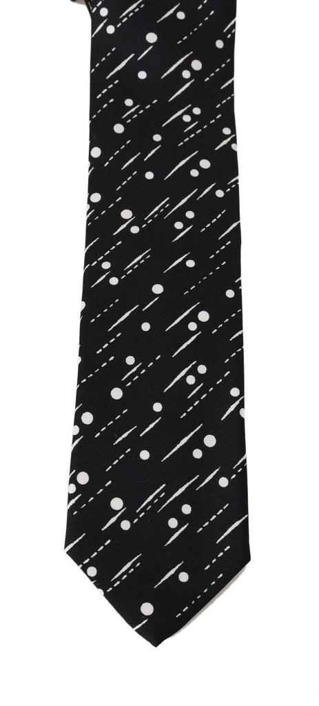 Black Silk White Dotted Print Tie