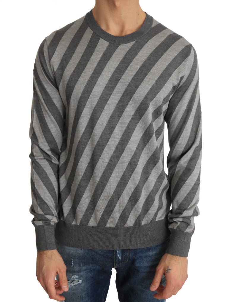 Gray Striped Silk Crew-neck Pullover Sweater