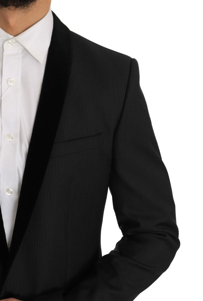 Gray Black Tuxedo GOLD Slim Fit Smoking Suit