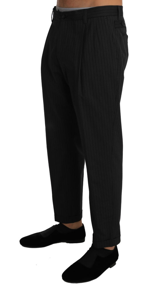Gray Cotton Striped Stretch Trousers  Pants