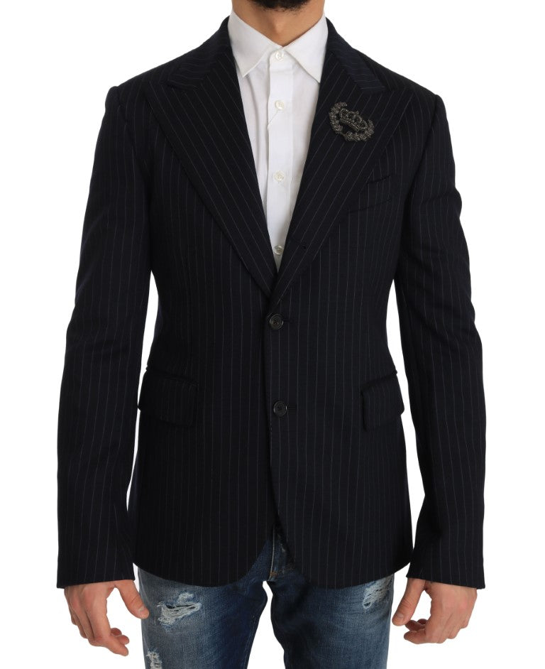 Blue Striped Royal Crown Blazer Jacket