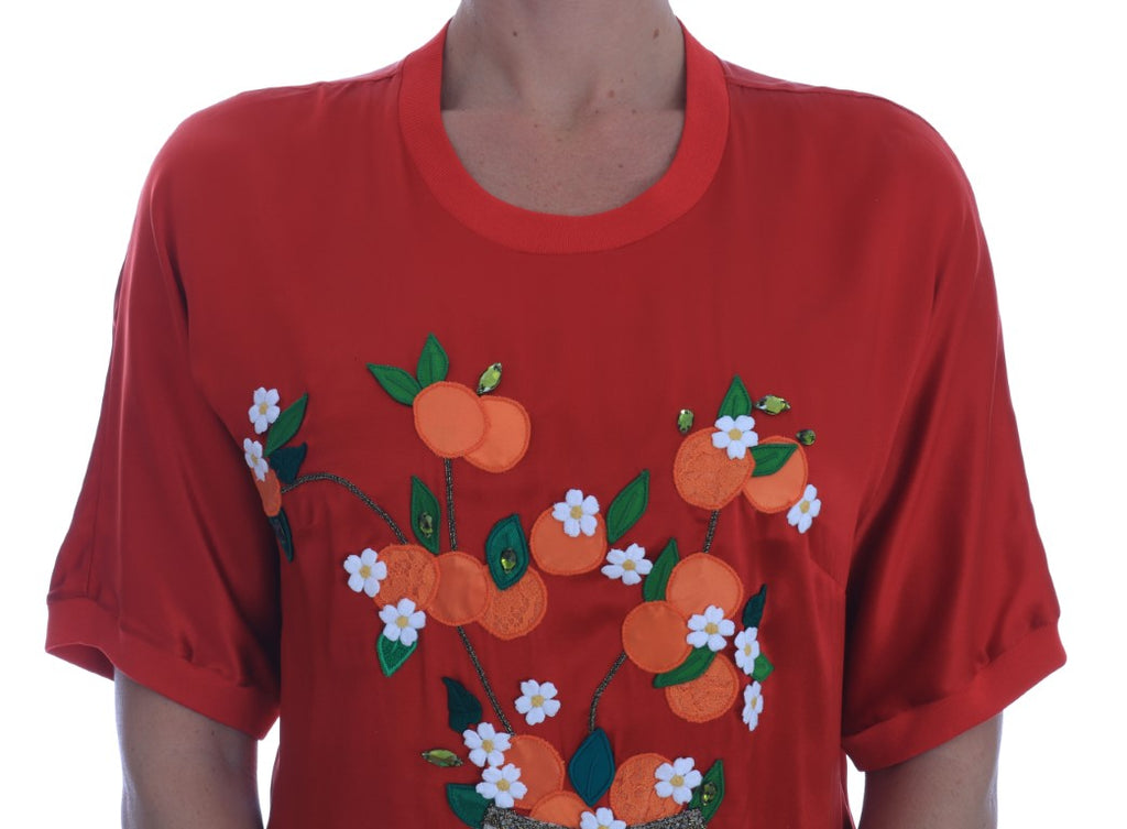 Red Silk Oranges Floral Crystal Blouse