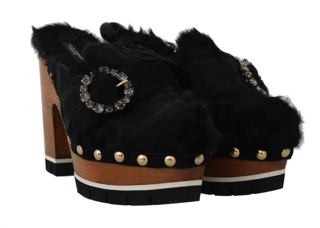 Black Xiangao Fur Crystal Mules