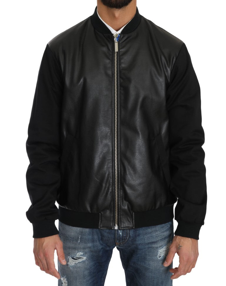 Black Cotton Stretch Bomber Zipper Jacket