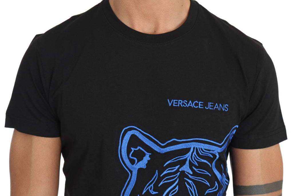 Black Cotton Blue Tiger Embroidery Crewneck  T-shirt