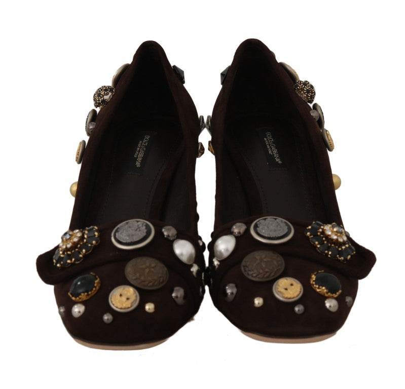 Brown Suede Crystal Studs Logo Pumps