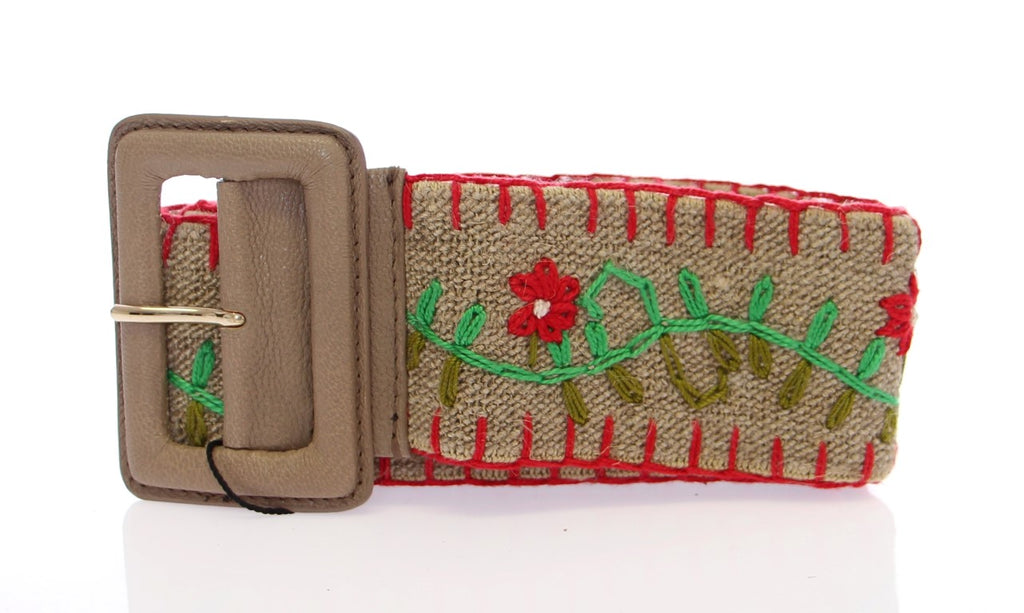 Multicolor Floral Leather Logo Belt