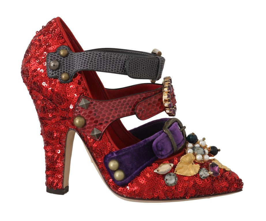 Red Sequined Crystal Studs Heels Shoes