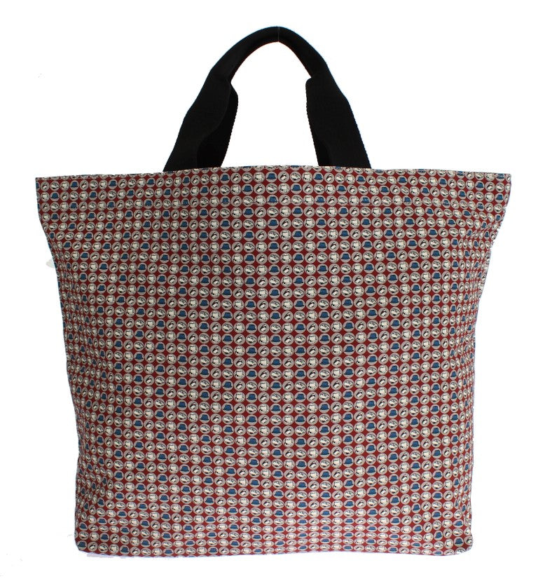 Multicolor Hat Print Cotton Denim Shopping Bag