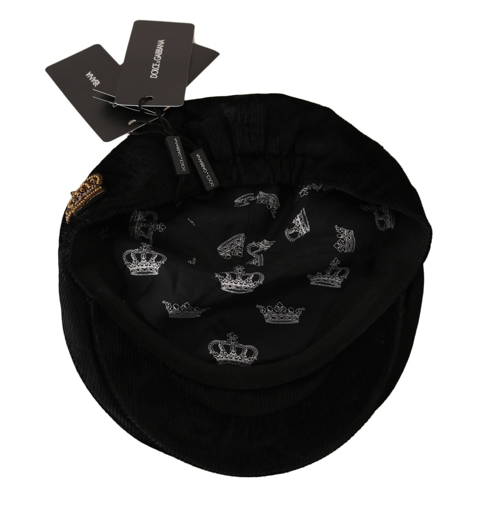 Black Velvet Beaded Crown Logo Newsboy Cap
