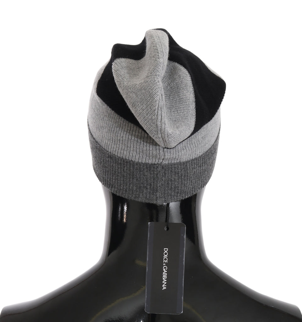 Gray Black Beanie 100% Cashmere Warm Hat