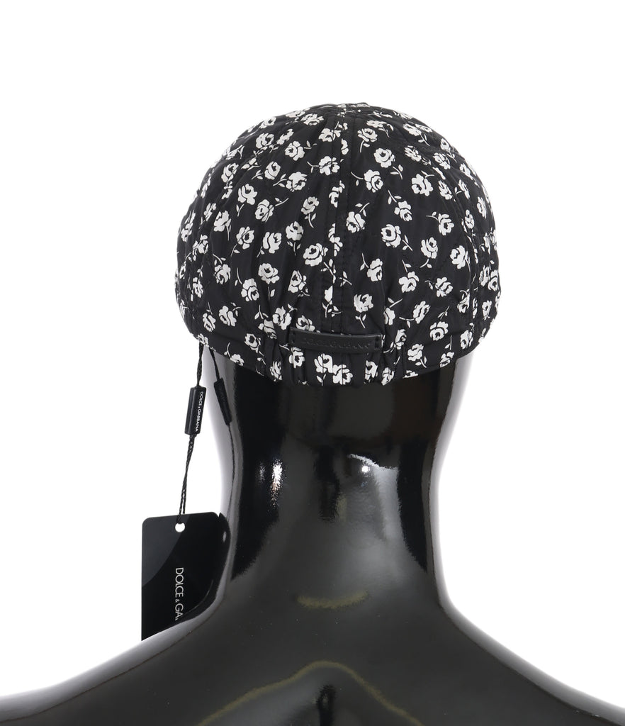 Black Nylon Flower Print Newsboy Hat