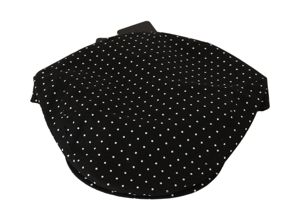 Black Polka Dot Cotton Stretch Newsboy Hat