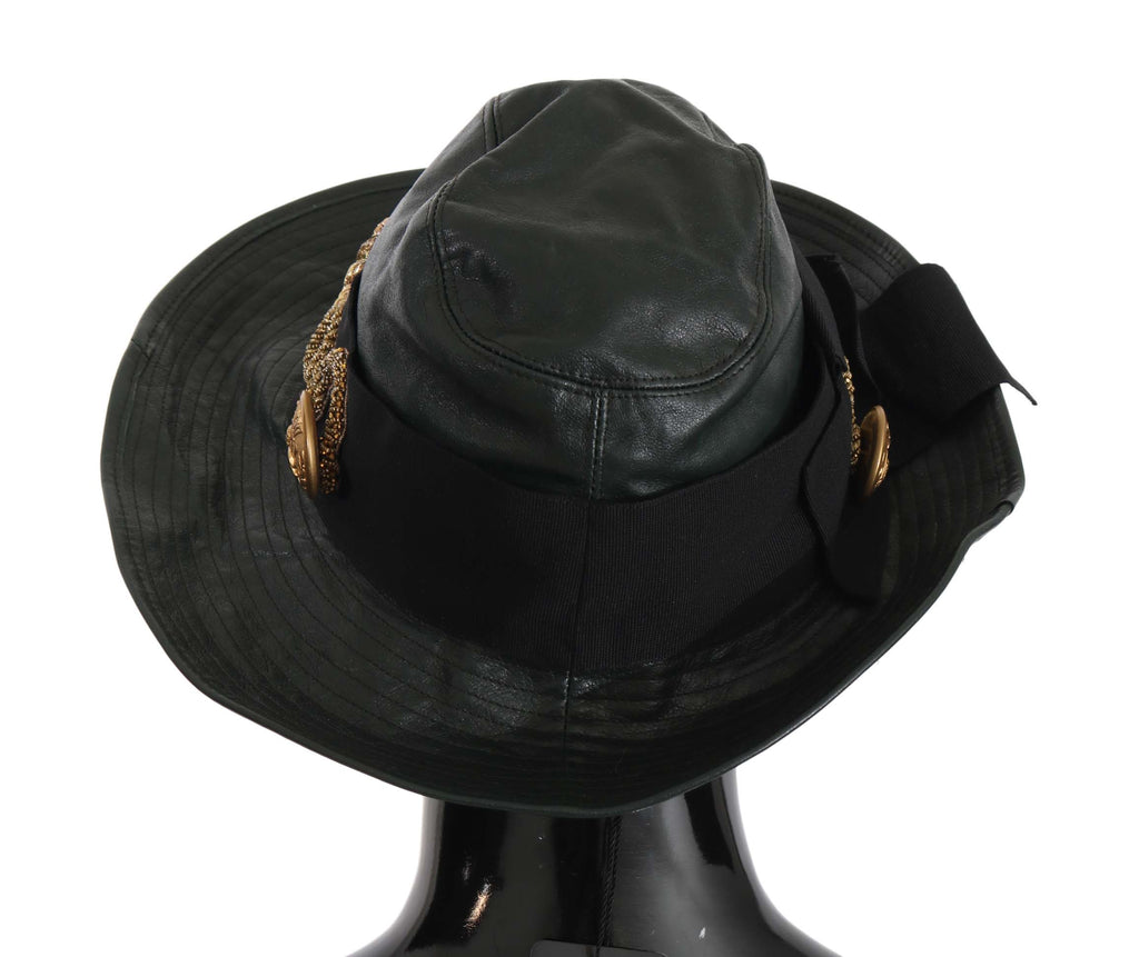 Green Leather Wide Brim Gold Crystal Hat