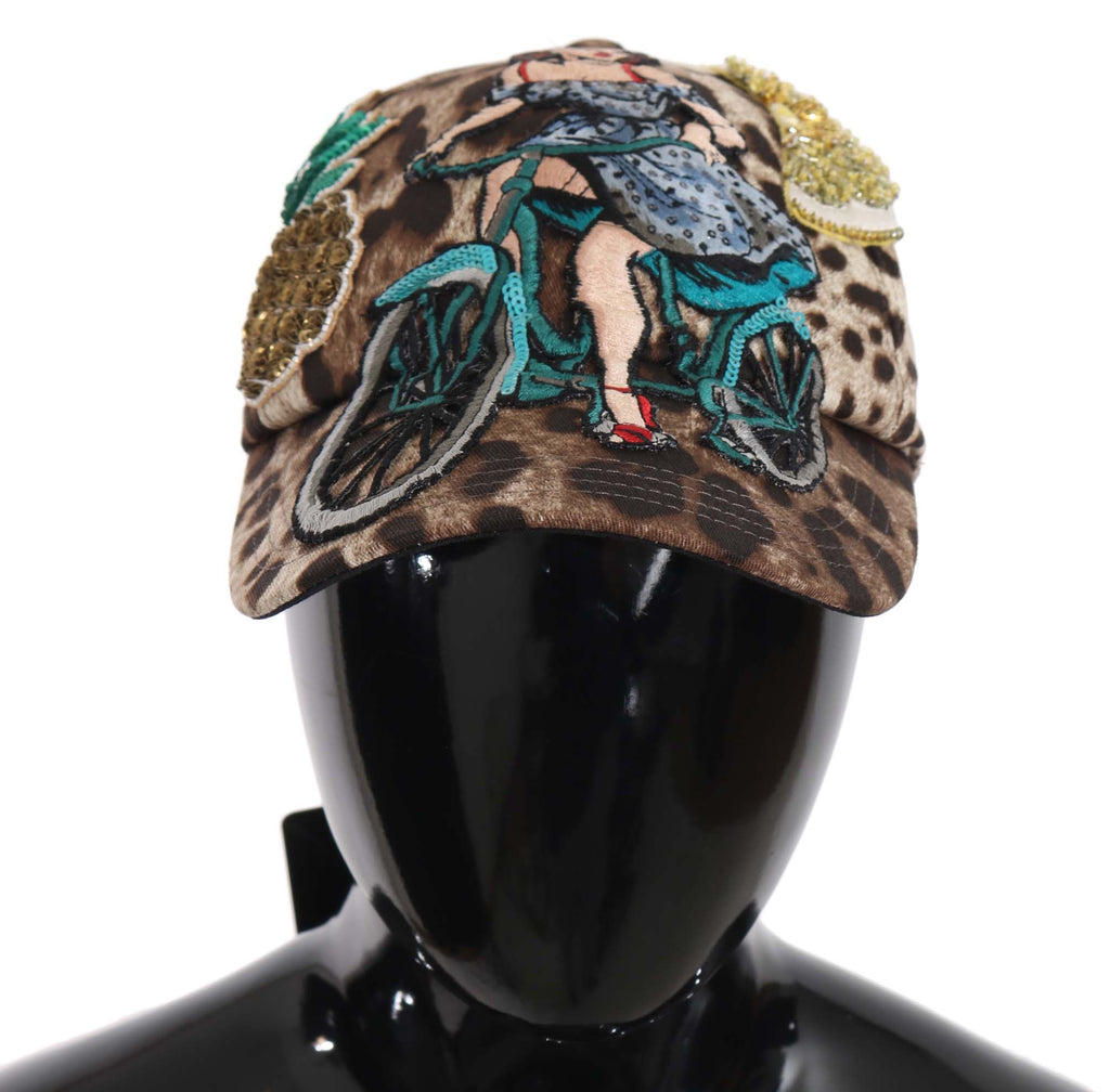 Brown Leopard Sequin Sicily Applique Baseball Hat
