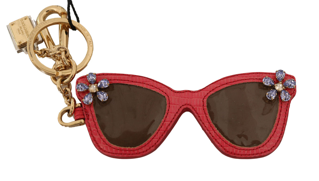 Red Leather Sunglasses Crystal Clasp Keyring Keychain