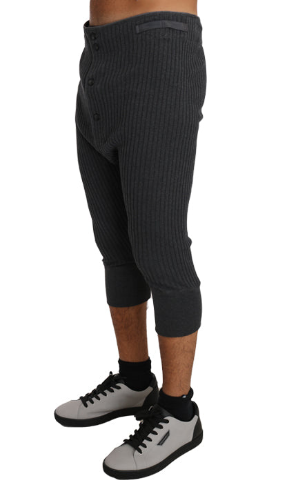 Gray Cotton Stretch Bermuda Thermal Bottoms