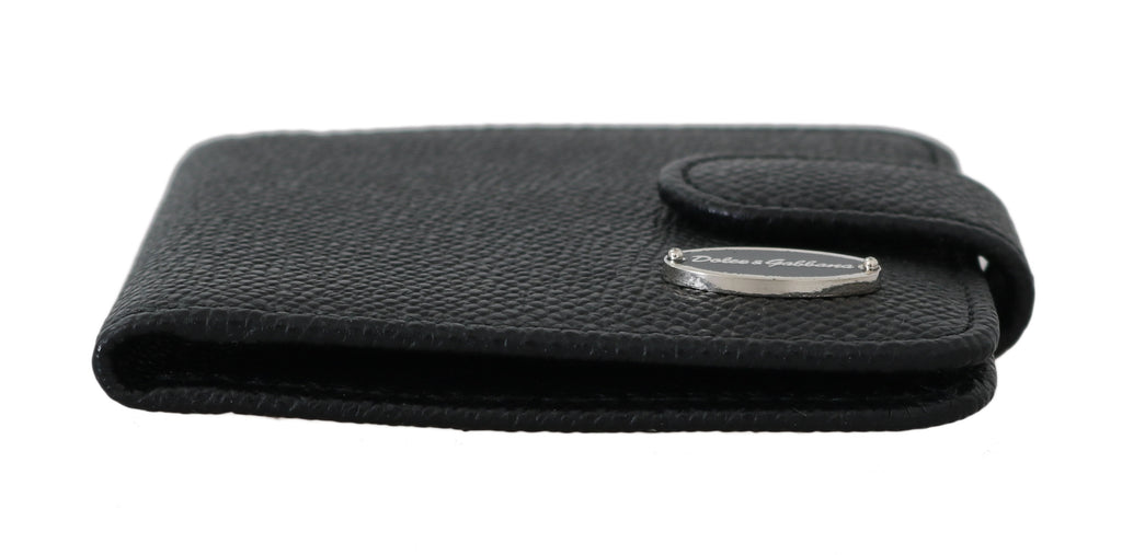 Black Dauphine Leather Condom Pocket Case Holder
