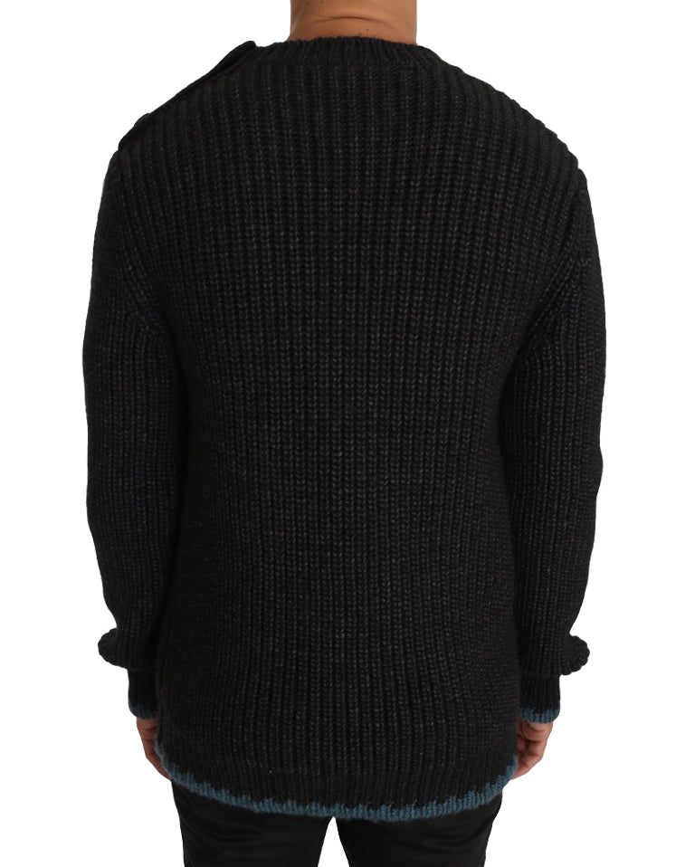 Black Knit Wool Crewneck Pullover Sweater