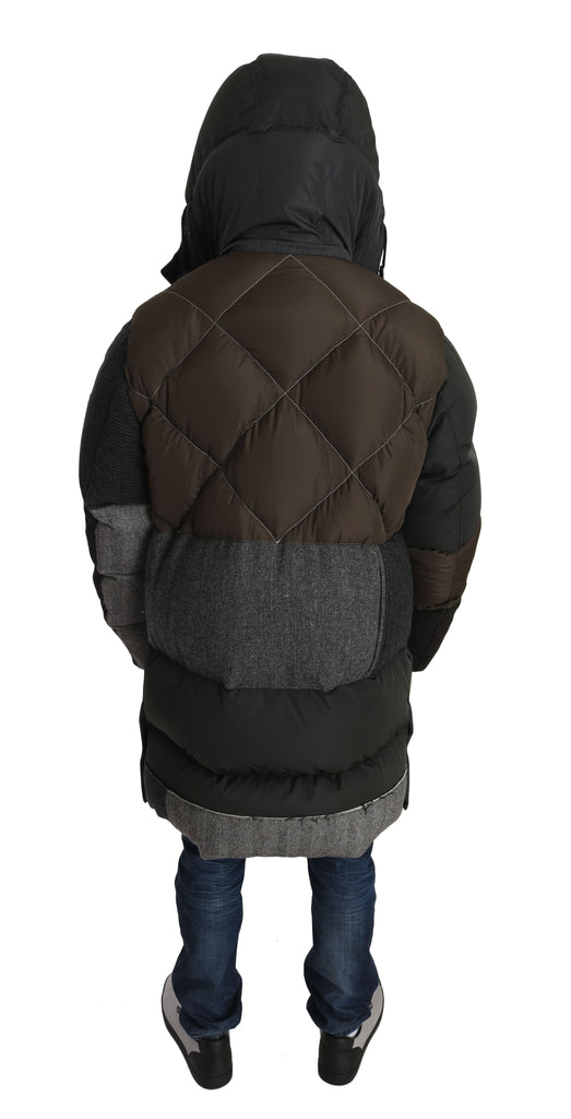 Gray Brown Wool Patterned Puffer Hooded Coat