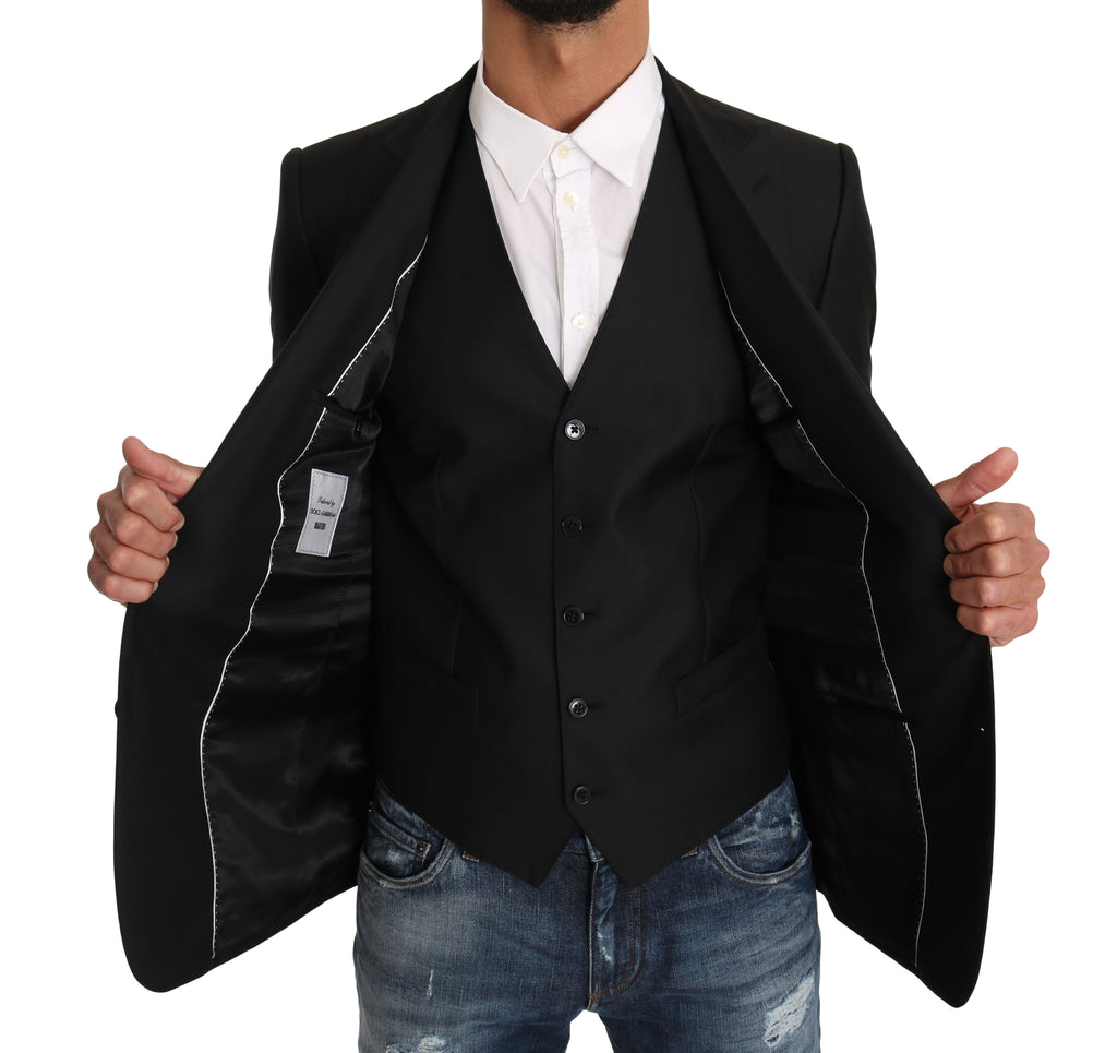 Blazer Vest 2 Piece Black Wool MARTINI