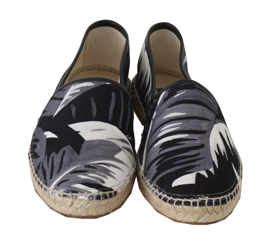 Gray Canvas Leather Leaves Espadrille
