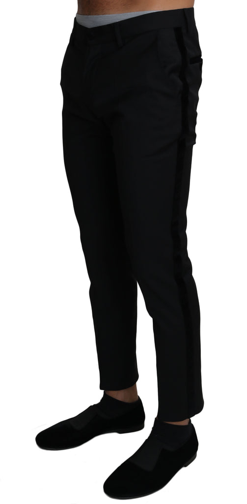 Black Wool Stretch Formal Trousers Pants