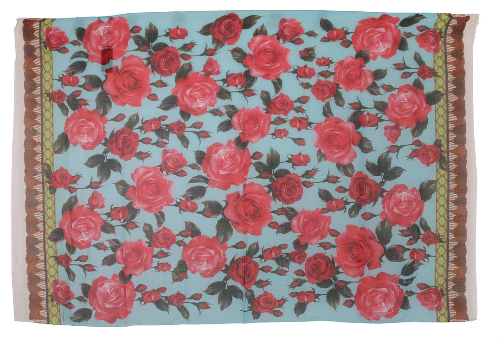 Pink Roses Cashmere Silk Wrap Shawl Scarf