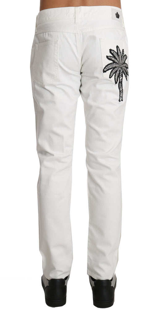 White Cotton SLIM DENIM Palm Crown Pants