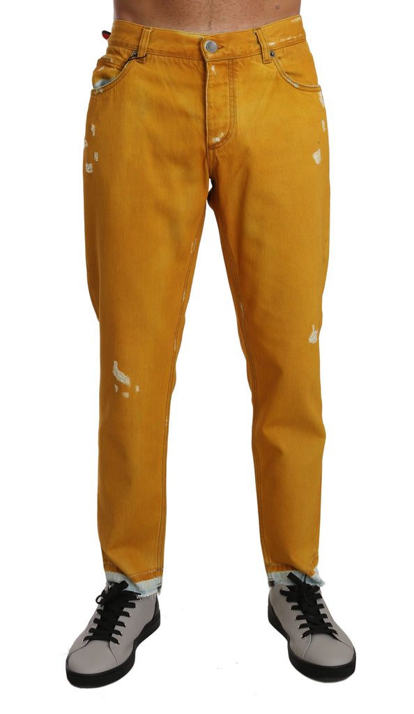 Gold Yellow Cotton CLASSIC Denim Pants