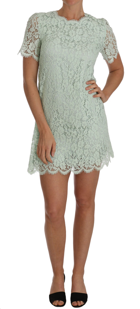 Floral Lace Green Sheath Above Knee Dress