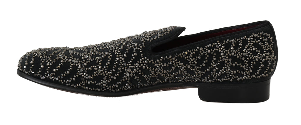 Black Velvet Crystal Beaded Loafers