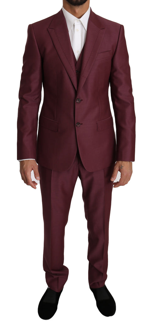 Purple Wool 3 Piece Double Breasted Suit