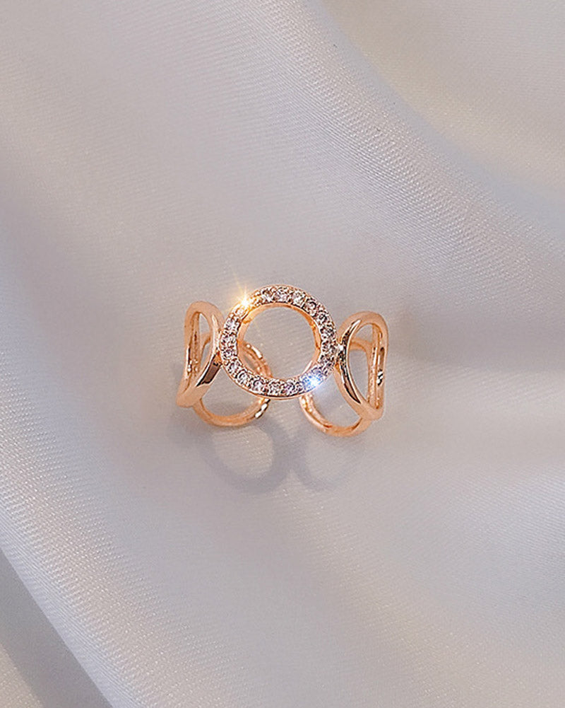 Rose Gold Crystal Chain Ring