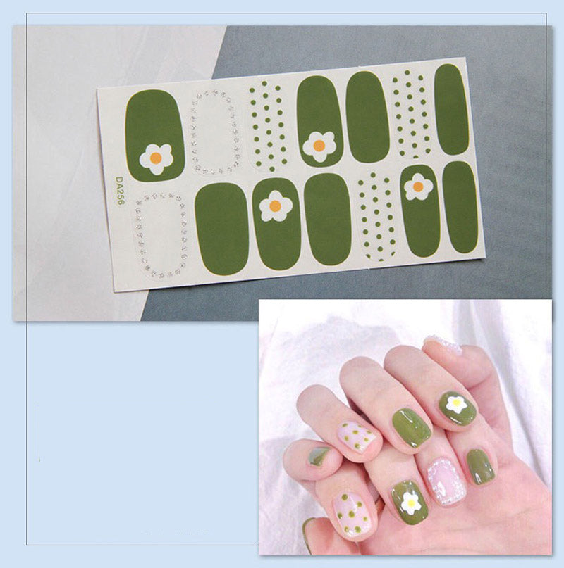 Gel Nail Stickers -Flower, green based