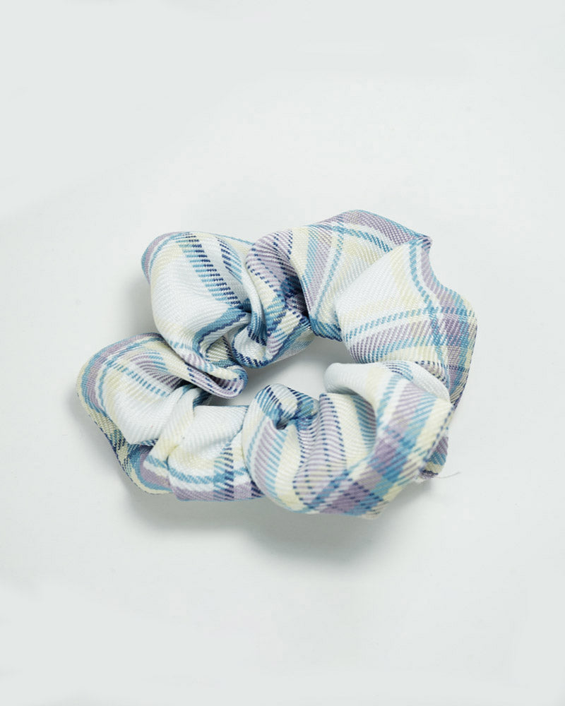 Two Tone Check Scrunchie-Light Blue