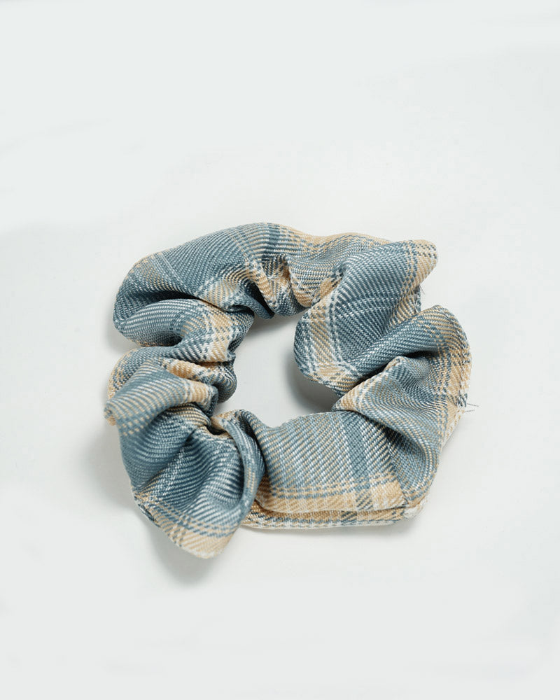 Two Tone Check Scrunchie-Blue