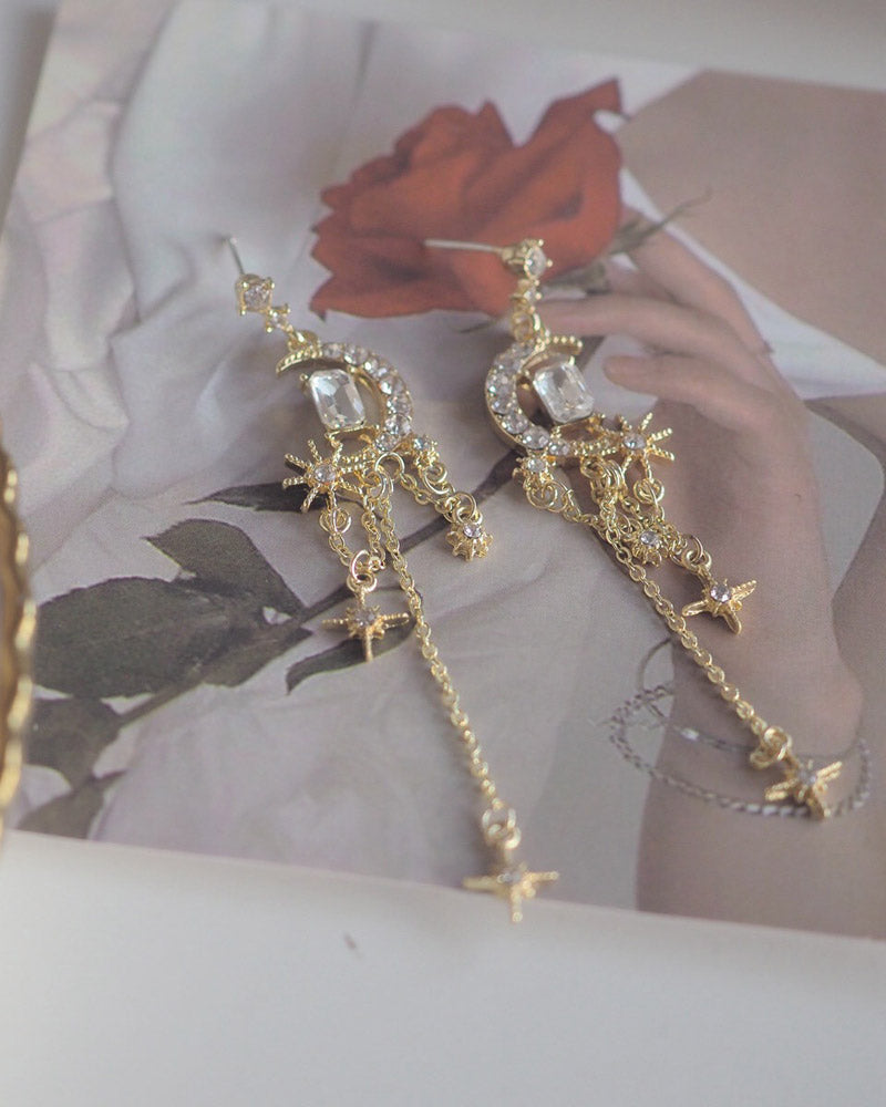 Stars and Moon Tassel Post Earring