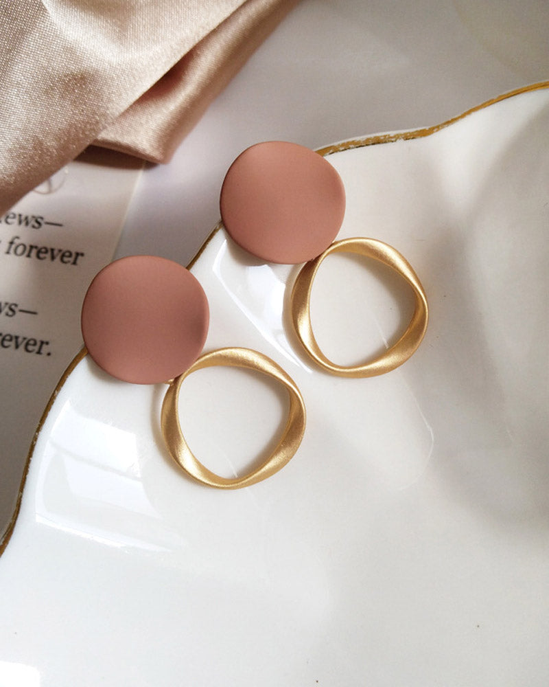 Round Frosted Geometry Earring