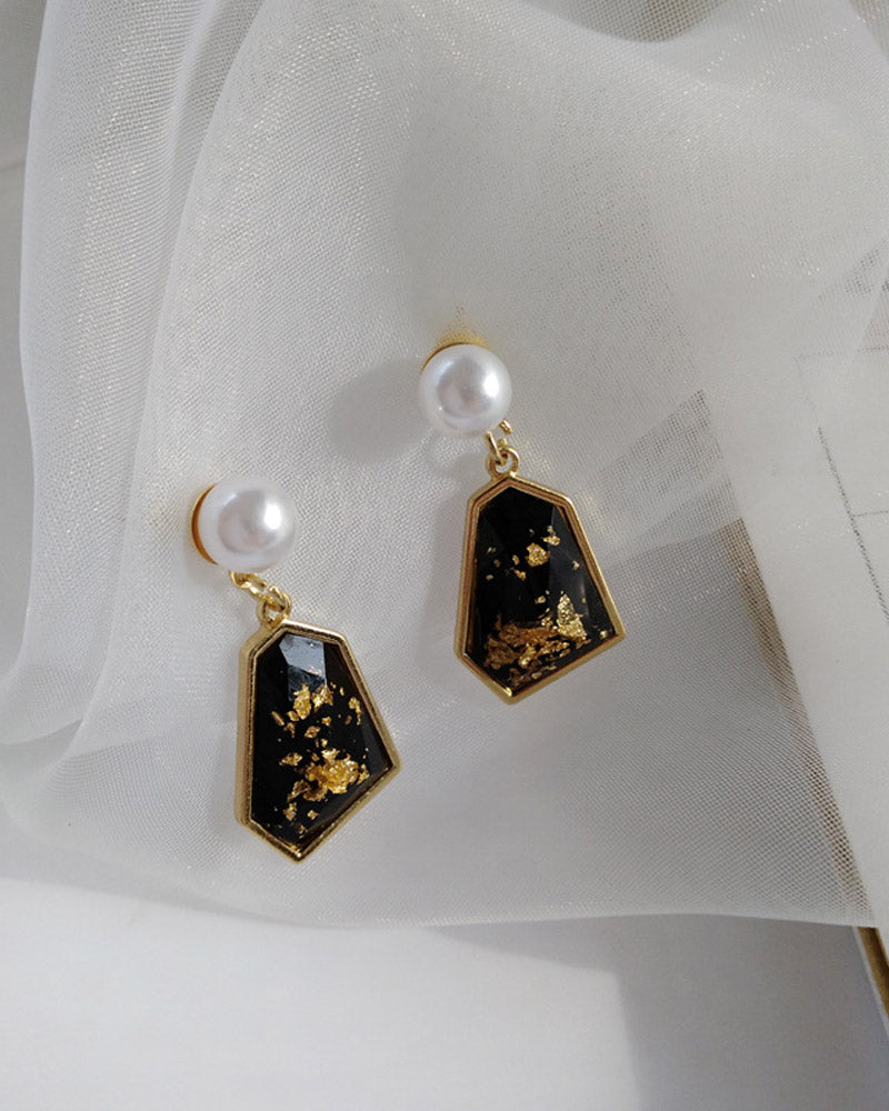 Irregular With Gold Foil Paper Earing
