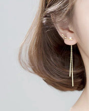 Load image into Gallery viewer, Asymmetric Antler Pearl Tassel Earrings