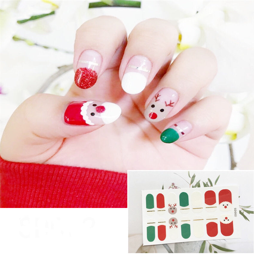 Gel Nail Polish Stickers - Christmas Tree Print