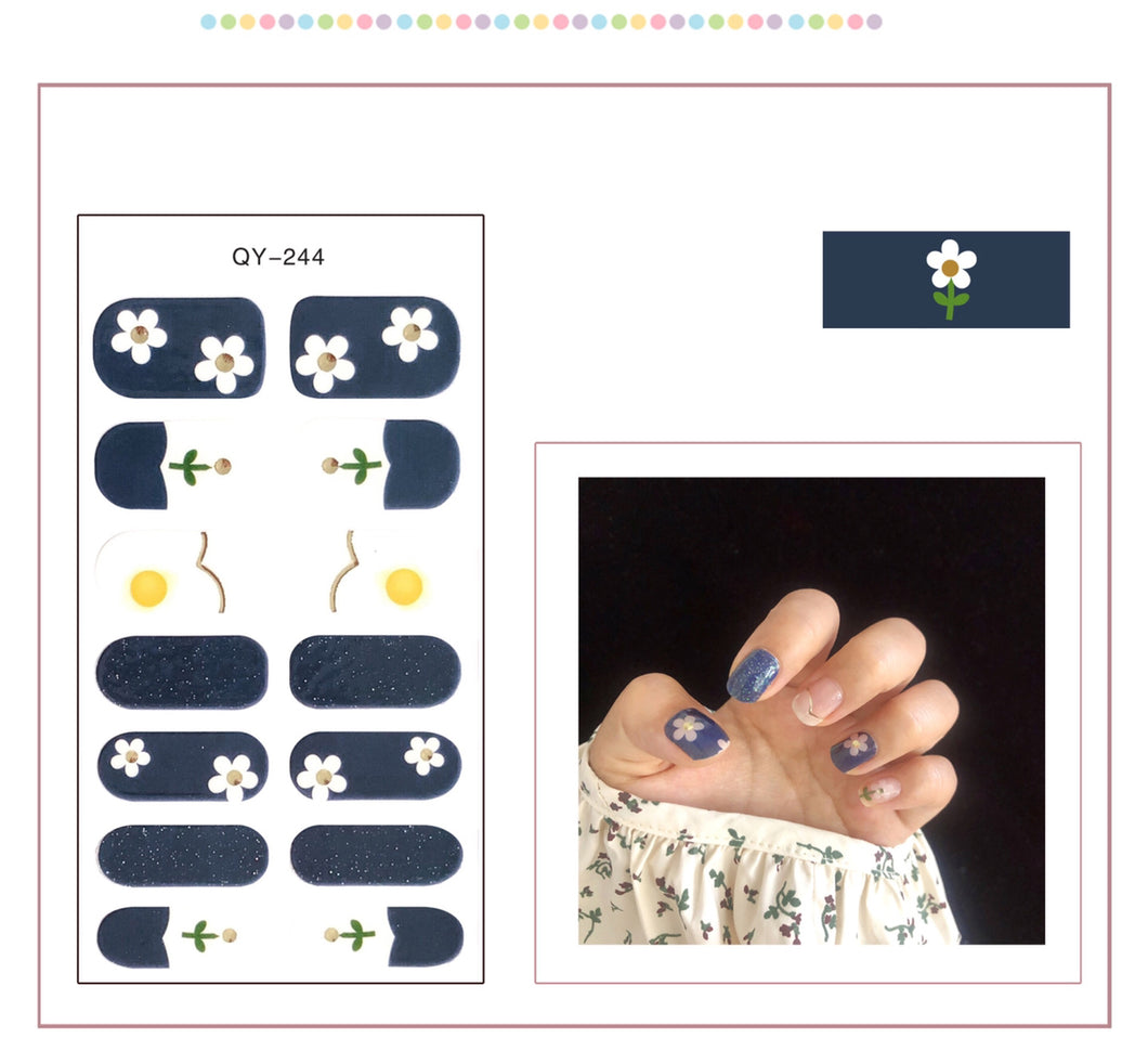 Gel Nail Polish Stickers- Lace Flower Printed