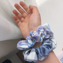 Load image into Gallery viewer, Two Tone Check Scrunchie-Light Blue
