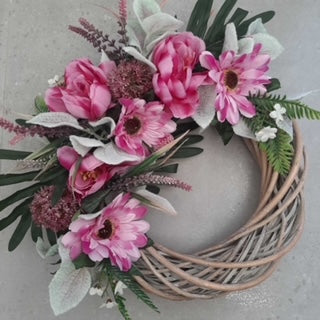 Pop of pink half wreath