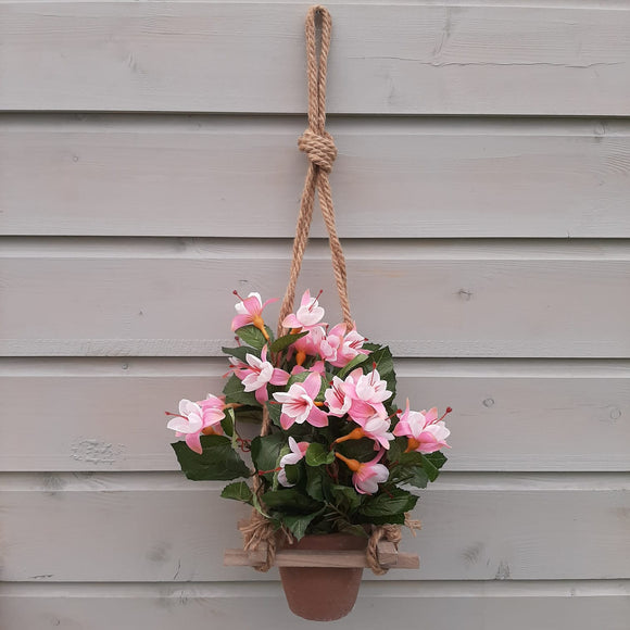 Ceramic Pot Hanger with Fuchsia flowers