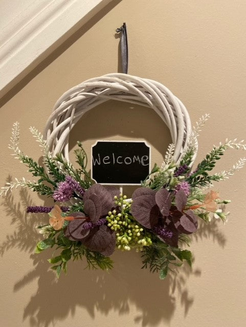 Small Message Wreath - White