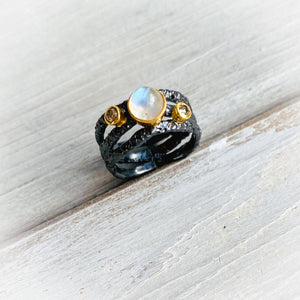 Moonstone + Diamond Tidal Ring (adjustable)
